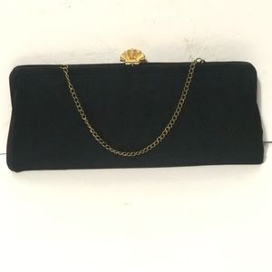 Vintage Black Fabric Clutch Gold Shell Clasp